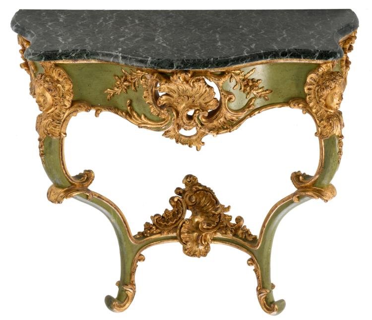 An Italian Rococo style polychrome and gilt decorated wooden console with a vert de mer marble top, H 80 - W 92 - D 46 cm