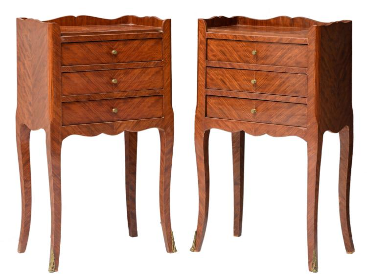 A pair of early Neoclassical rosewood chiffoniers,H 74,5 - W 41,5 - D 28 cm
