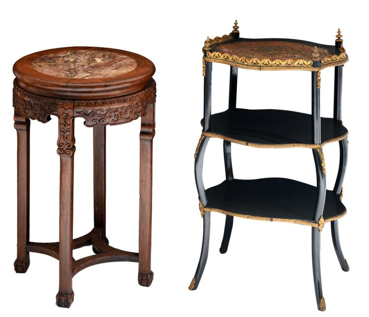A Historism Boulle occasional table; added an Oriental inspired pedestal with a marble top,H 71 - 82,5 - W 42 - 44,5 - D 34,5 - 42 cm
