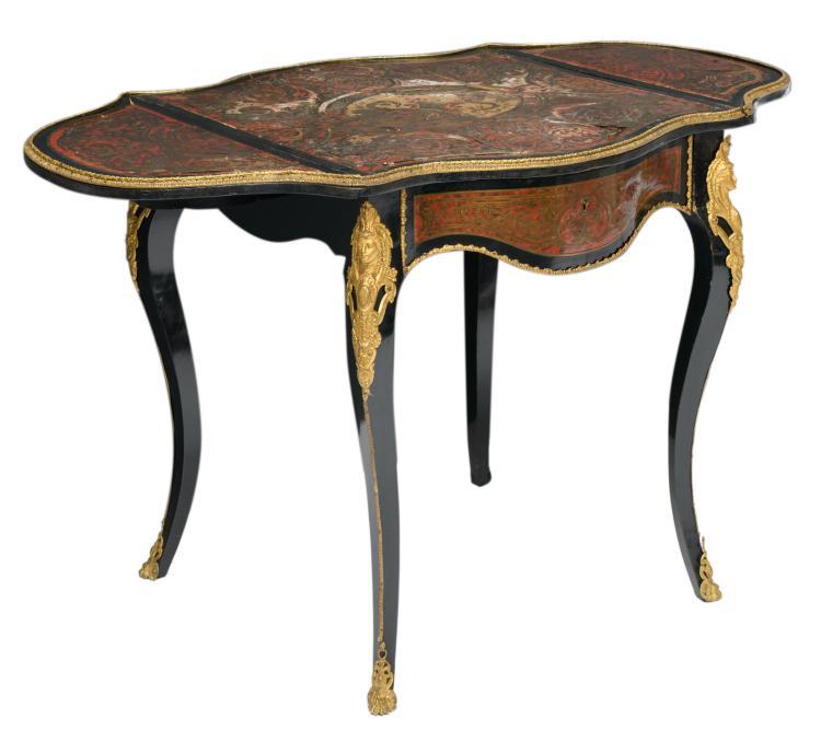 A Historism Boulle pembroke table,H 71 - W 66 - 114,5 - D 70 cm