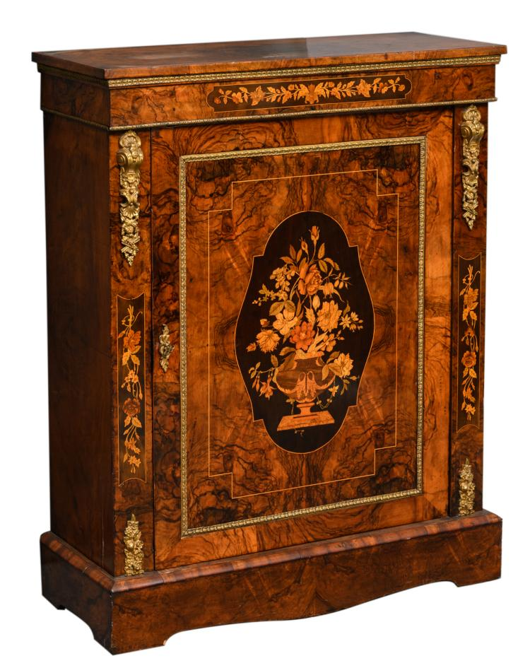 A Historism burl wood bronze mounted meuble d'appui with marquetry,H 109 - W 86,5 - D 34 cm
