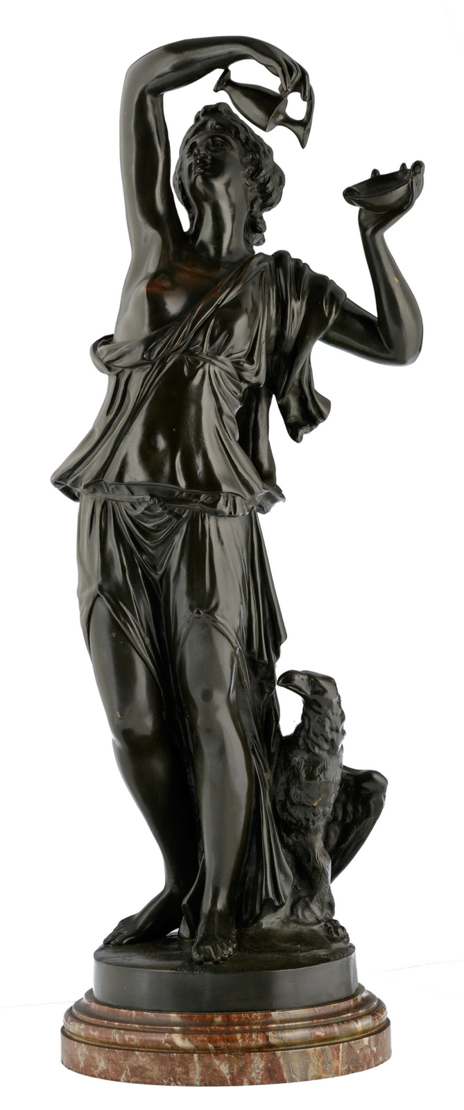 Clodion, the seduction, patinated bronze on a marble base, H 84,5 (without base) - 95 cm (with base)