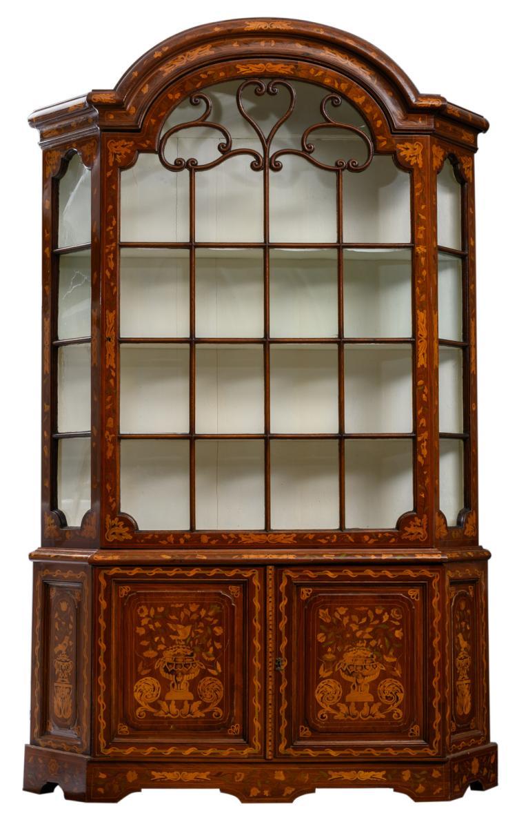 An 18thC Dutch mahogany marquetry display cabinet, H 233 - W 146,5 - D 34 cm