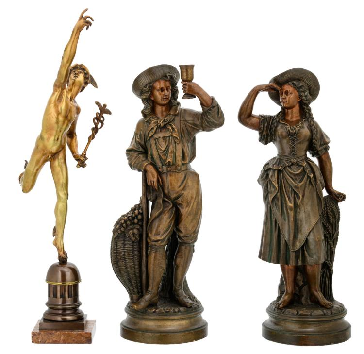A bronze sculpture depicting Hermes after Jean de Boulogne, on an onyx base; added two early 20thC French polychrome decorated terracotta figures depicting farmworkers, H 65 - 78 cm