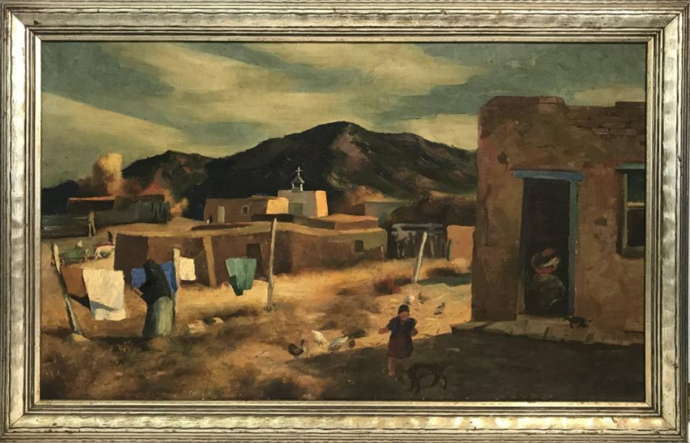 "OIL / CANVAS ""AUTUMN AFTERNOON"" SGND KENNETH ADAMS IN VERSO (KENNETH MILLER ADAMS 1897 - 1966) 18"" X 30"""