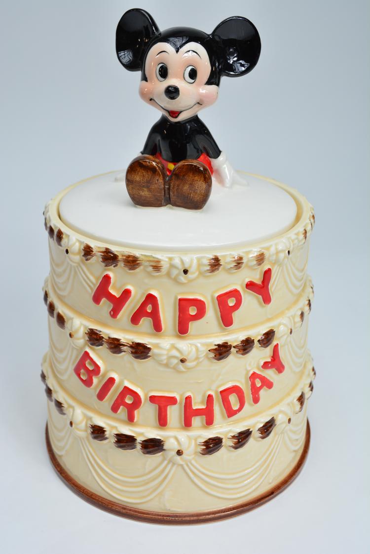 Mickey Mouse Happy Birthday Cookie Jar Htf Walt Disney Produ