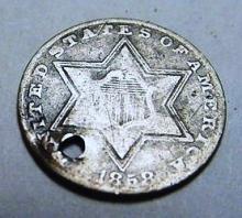 1858 3 CENT SILVER TINY HOLE