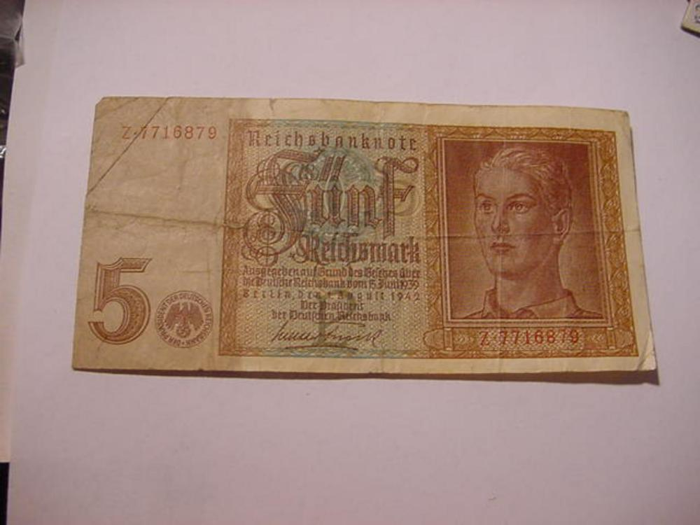 1942 GERMANY 5 MARK BANKNOTE