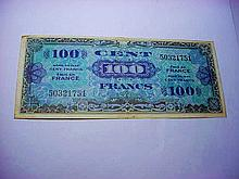 1944 FRANCE 100 FRANCS MILITARY PAYMENT CURRENCY