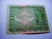 1922 GERMANY 100 KRONEN BANKNOTE