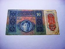 1915 AUSTRIA 10 KRONEN BANKNOTE