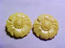 VINTAGE CARVED  IVORY CLIP ON  EARRINGS