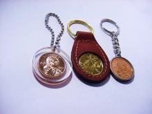 VINTAGE  [ 3 ]  COIN KEYRINGS  LOT