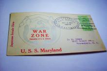 1937 U.S.S. MARYLAND WAR ZONE COVER