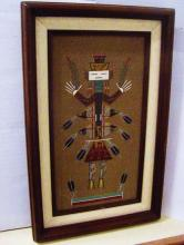 LORETTA BEGAY INDIAN SAND PAINTING 6.5 X 12.5 INCHES FRAMED 10.5 X 17.5 INCHES