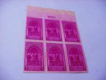 1939 SESQUICENTENIAL OF THE CONSTITUTION PLATE BLOCK OF 6