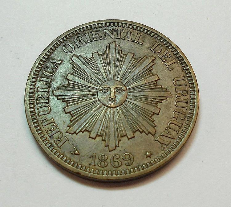 1869 URUGUAY 4 CENTESIMOS