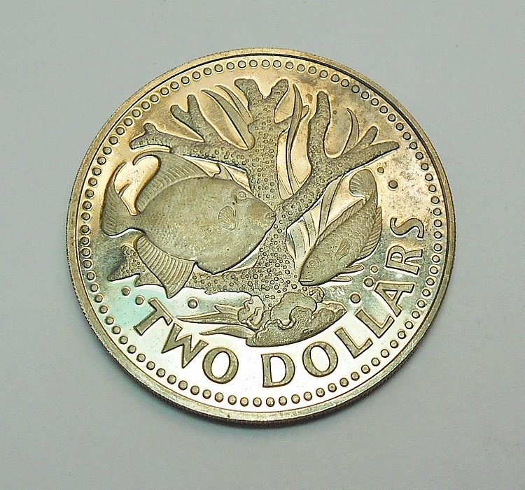 1973 BARBADOS $2 PROOF COIN