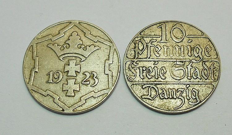 [2] DANZIG 10 PFENNING COINS