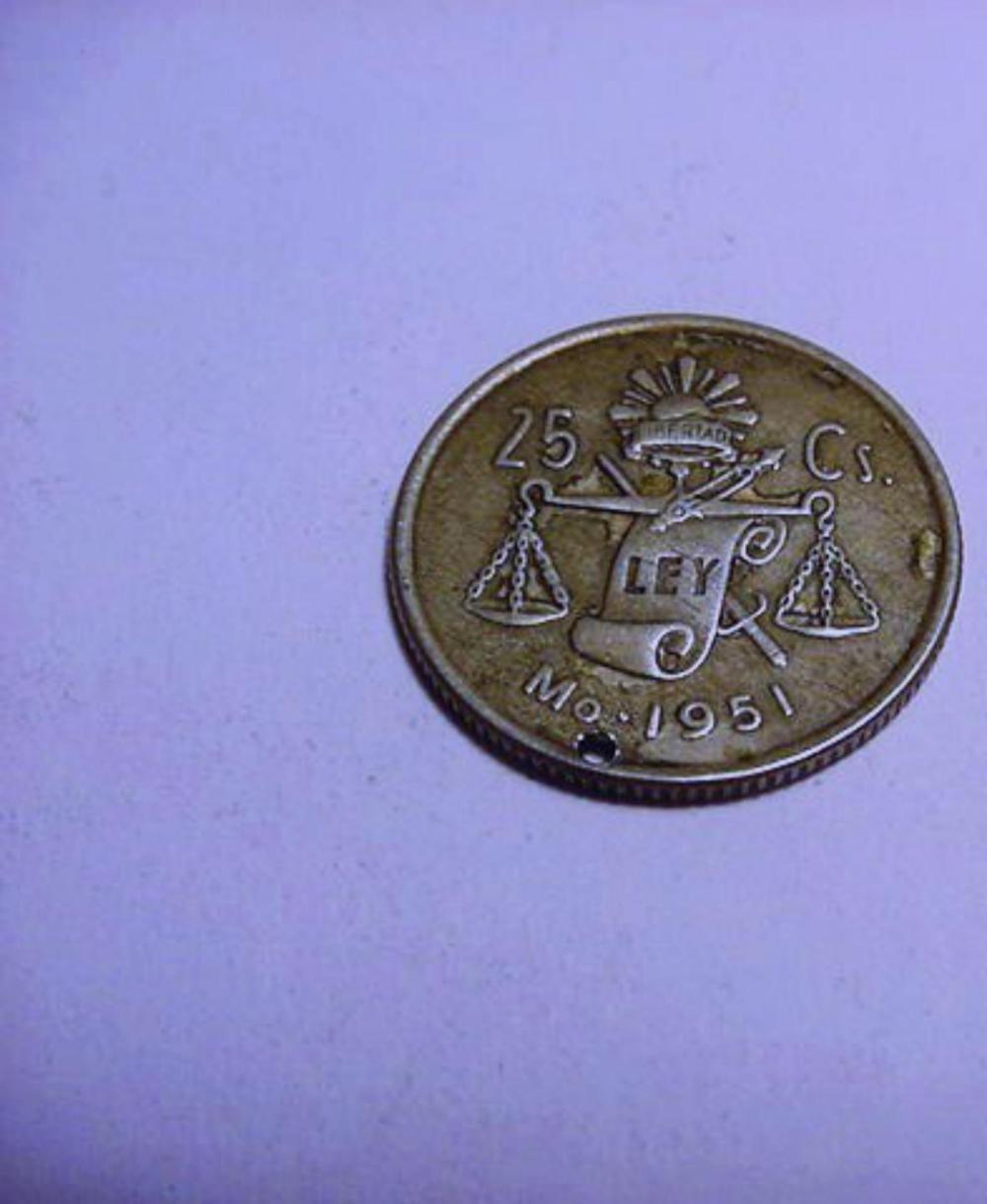 1951 MEXICO  SILVER 25 CENTAVOS