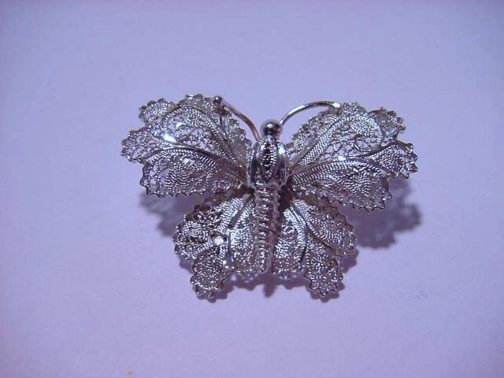 VINTAGE STERLING FILIGREE BUTTERFLY  PIN
