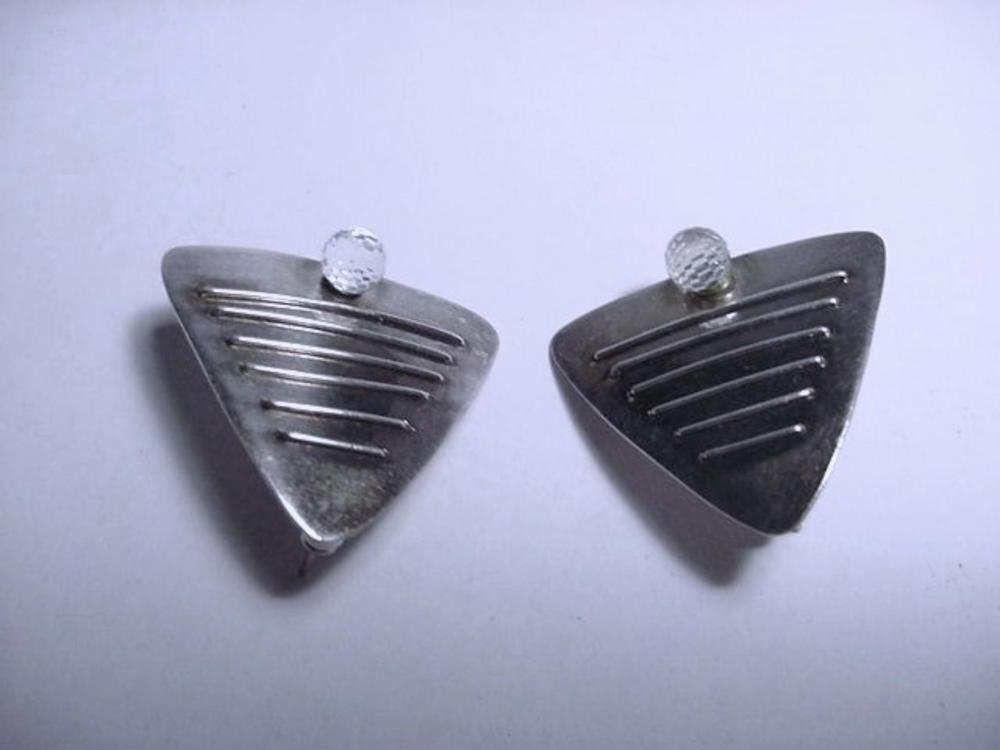 VINTAGE STERLING  SIGNED  T A  EARRINGS