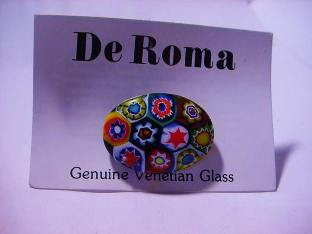 VINTAGE DE ROMA GENUINE VENETIAN GLASS PIN ON ORIGINAL CARD