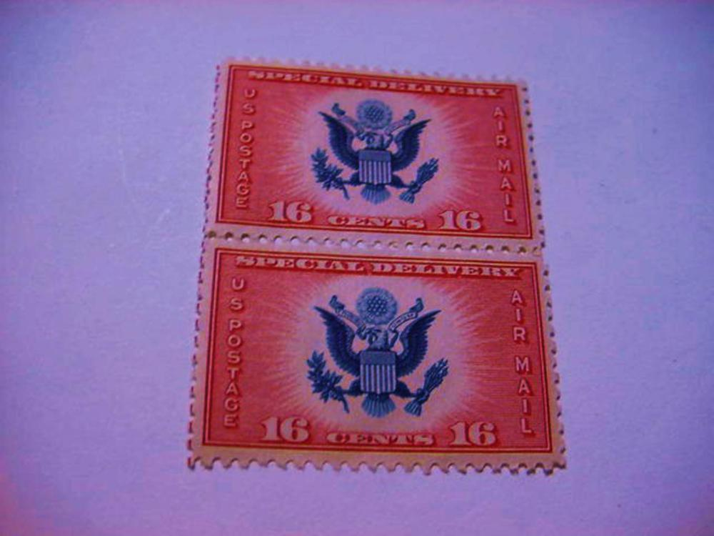 PAIR U.S. AIRMAIL SPECIAL DELIVERY STAMPS