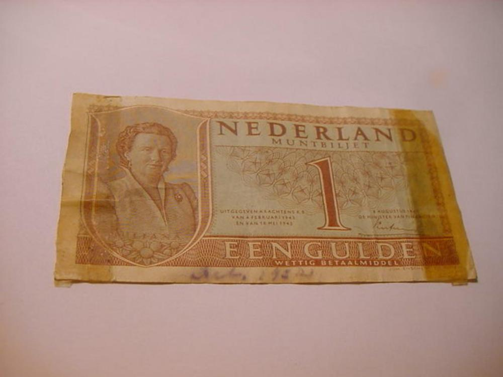 1942 NETHERLANDS 1 GULDEN BANKNOTE