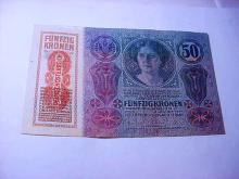 1914 HUNGARY 50 KRONEN BANKNOTE