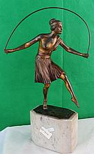 ArtDeco Bronze Lady Jumping  Rope, France 1910