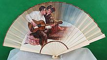 Spanish Fan Ivory ribs w/ painting on silk C.1900
