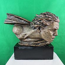 Art Deco Bronze Head by Alex Kelety, C.1920