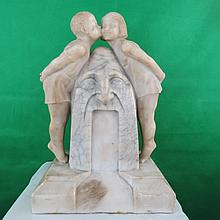Alabaster Two Children by Fountain,Italian. C.1910