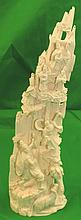 Ivory Sculpture of Mountain Scene, Signed H: 10