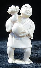 Old  Ivory Netsuke Man w/Flowers H-2''
