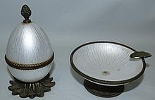 Enamel and Bronze Ashtray and Lighter
