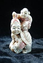 Old  Ivory Netsuke Boy on Turtle Man H-2