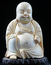Old Ivory Buddah on stand H-2.5'' Stand H-1
