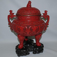 Old and Original Cinnabar Urn w/base