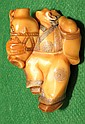 Ivory  Netsuke, Man with vase, signed