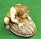 Ivory  Netsuke, Man with Turtle ,signed