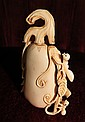 Ivory Snuff Bottle Excellent Carving H: 3