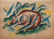 Franz Marc - Mixed Media on paper - 7.5
