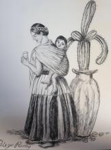 Diego Rivera - Pencil on Paper - COA - Mother with Child 11
