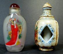 Set of 2 Snuff Bottles - Porcelain - Glass