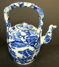 Qianlong Tea Pot Family Blue China  H: 8