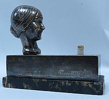 Ringer w/head of woman, signed Susse Freres