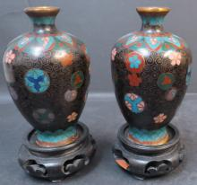 Pair of Cloisonne small vases H: 4