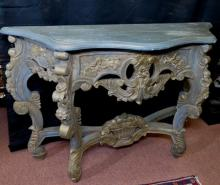 Carved wood console